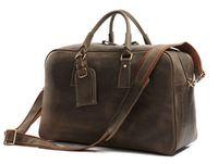 J.M.D Leather Bag New Arrival 100% Rare Crazy Horse Leather Men's Travel Bag Weekend Bag Briefcases Laptop Bag Huge 18' #7156R