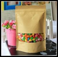 50pcs/lot 22x30cm Big food packaging paper bags with window bag packaging visual kraft paper bag zip lock bag