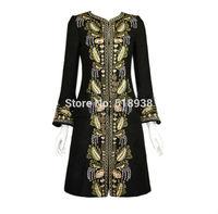Luxury 2014 autumn winter women vintage fashion gold line embroidery long wool coat beading diamonds overcoat woollen coats pink