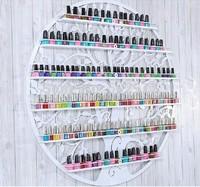 Free shipping Hanging Wrought Iron Circular art Nail Polish Wall Rack Display stand Cosmetics shelf 60*60CM
