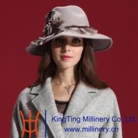 Autumn and Winter Women Hats 2014 Elegant Dress Coat 100% Wool Felt Hat British Fashion Elegant Feather Wide Brim Hats