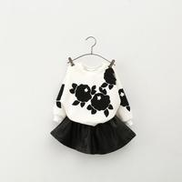 2014 Fashion girls 2 pcs embroid leather clothes set  white embroid coat /hoodies/sweater + imitation leather fluffy skirt set