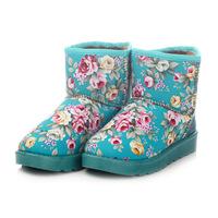 2014 new fashion hot sale winter snow boots print flowers women's warm ankle shoes winter heels platform boots