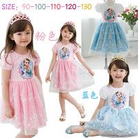 Girls Summer Dress 2014 Hot Sale Frozen Dress Frozen Elsa Custume Cloth for Cute Baby Girls Princess Dress Freeshipping FZA005
