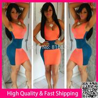 Orange&Blue Patchwork Vestidos Sleeveleess Sexy Women Summer Vintage Dress 2014 Bandage Party Club Dress Bodycon Casual Dress