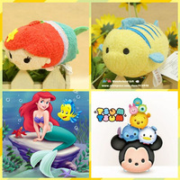 Free Shipping TSUM Ariel the Little Mermaid and Flounder Fish 2pcs/lot mobile screen cleaner keychain bag hanger plush toys gift