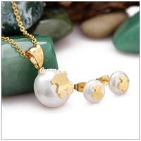 Fashion Ladies Pendants Necklaces/Stud Earrings Stainless Steel Gold Plated Lovely Bear&White Stone Jewelry Sets For Women Girl