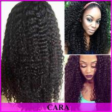 Cara Hair Brazilian Virgin Kinky Curly Human Hair Glueless Lace Front Wig For Black Women #1b 8-24'' in stock 120% density(China (Mainland))