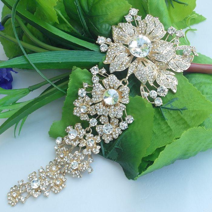 Beautiful Wedding Ornaments Vintage Style Rhinestone Crystal Flower Bridal Brooch, Wedding Decorations, Bridal Bouquet 04704C7(China (Mainland))