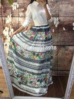 New sexy 2014 autumn women girls vintage fashion embroidery lace floral striped print long dress beading chiffon brand dresses