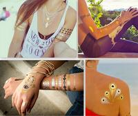 Top Quality Flash MetallicTattoos Hamsa Hand Jewelry Temporary Tattoo 4 pcs/lot  SKU: FT-01
