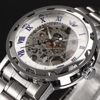 Fashion Causl Sports Mens Full Steel Black Skeleton Mechanical Hand Wind Watch WristWatch For Men