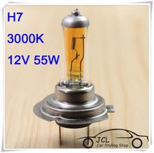 2pcs Xenon H7 Halogen Light Auto HeadLight Bulb Kit Gold Yellow 3000K 12V 55W Car light Car Styling For hyundai solaris Mazda 6(China (Mainland))