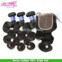 6A berrys Virgin hair Indain virgin hair body wave 3 hair weft  with 1 free part top closure cheap pricn Hair Extensions