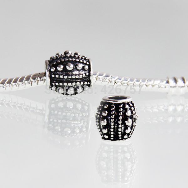 10pcs 10mm Antique silver charm european beads DIY alloy big hole european beads fit Pandora Bracelet