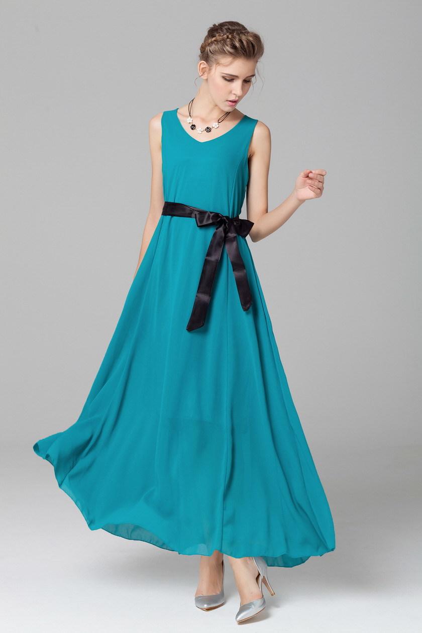 2015 Summer Beach Long Maxi Chiffon Waistbelt Beautiful Casual Dress Green Royal Blue Black Boho Plus size Design Women Tunics(China (Mainland))