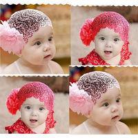 Free Shipping Newborn Kid Baby Girl Elastic Flower Headband Hairband Hair Accessories