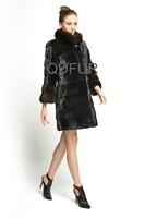 2014 Winter Women's Luxury Natural Mink Fur Coat Jacket Female Fur Outerwear Garment Sable Collar And Cuff QD70808