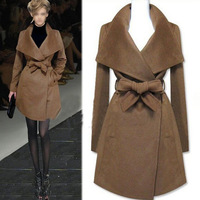 Casacos femininos New Women winter coat Fashion Wool Jacket Long Wool Coat with Sashes outerwear trench coat for women WC0318