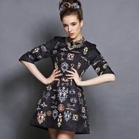 2014 New Women's Runway Dress Half Sleeve Dobby Fabric Vintage Key Print Plus Size Dress 5XL Free Shipping