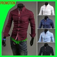 T1090 2014 New Spring&Autumn Men shirts Men's Long sleeve Slim Fit Stripe Shirt Casual Mens Korean dress shirt  5 colors M-XXXL