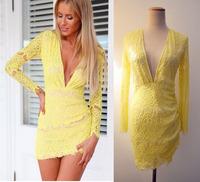 Free shipping elegant quality lace long-sleeved sexy deep V neck women's Slim mini dress