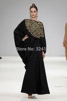 Free Shipping 2014 New Arrival Abaya Dress Black Scoop Duibai Long Sleeve Sequins Kaftan Evening Dresses