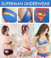 Free shipping new 2014 Superman super man 100% cotton push up bra underwear set s comfortable bra ZFC283