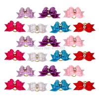 Wholesale 100pcs/lot Handmade Diamond Ribbon Pet Cat Dog Hair Bows Grooming Accessories