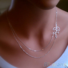 Fashion Womens Double Chain Leaves Pendant Charm Silver Plated Necklace 1S5Q