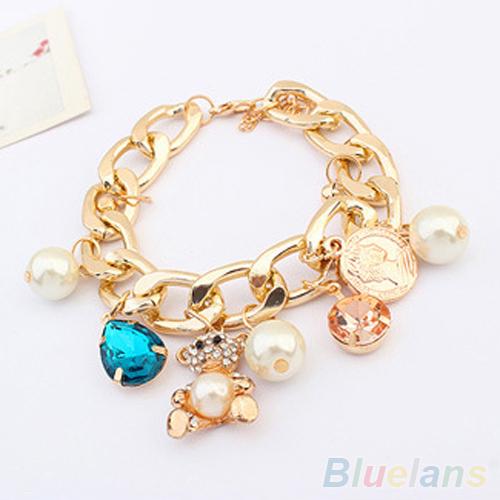New Nice Charm Rhinestone Pearl Crystal Bear Golden Chain Coin Bracelet Bangle 1S5T