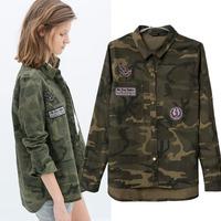 Camuflaje Blouses Long Sleeve Cotton Camouflage Shirt Women Printed Casual Coat Tops Blusas De Animales Camisa Mujer Femininas