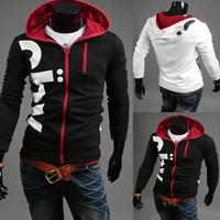 Wholesale Mens' Zipper Hoodies Jacket Black White Sweatshirt Slim Cardigan Casual Sport Coats Plus Size M L XL XXL XXXL ej656781