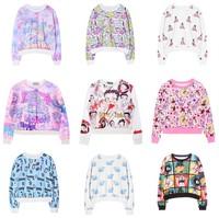 [Magic] 18 Hot models short loose style hoodies long sleeve o neck nice printed thin sweatshirt joker casual women's sweatshirts