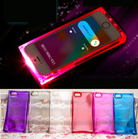 Crative Fashion Hot 3D ICE CUBE CASE BLOCK Transparent  LED Flash Light UP Back Case Cover Skin for iphone 5 5S 6
