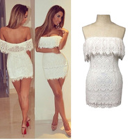 Free shipping elegant sexy embroidered openwork copper-nickel women's off shoulder quality lace dress