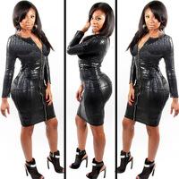 New 2014 Winter women Sexy Club dress Black Snake Skin Faux Leather Long Sleeve Bandage Dress Front Zipper Midi Dress 783