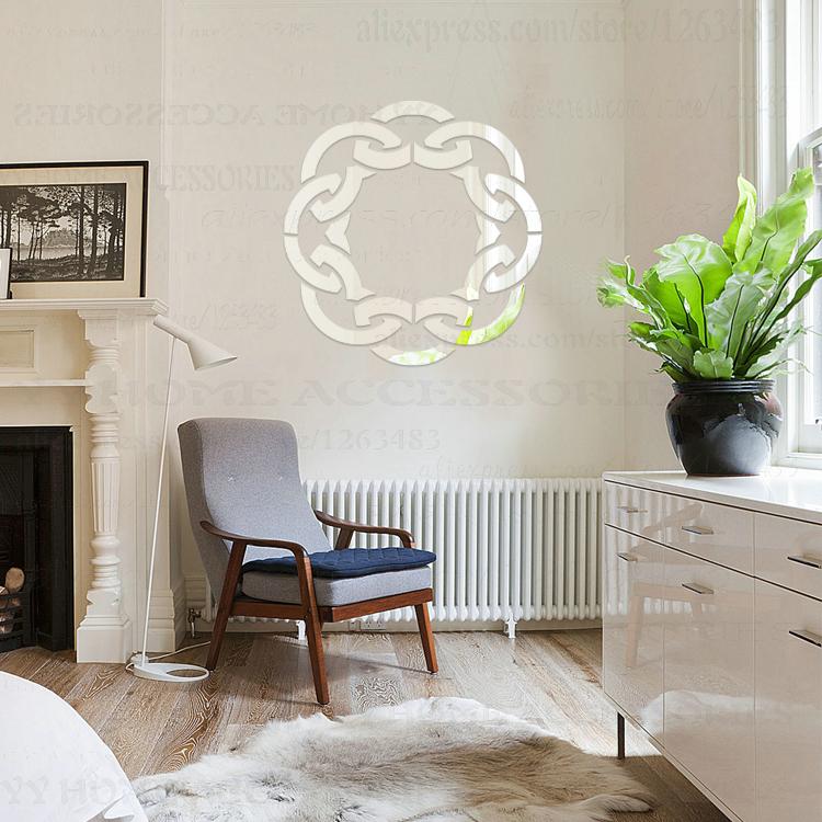 Home Decor Vinyl DIY 3D Acrylic Wall Mirror Sticker Europe Circular Pattern Ceiling Aisle Sofa Backdrop Bedroom Decoration S20(China (Mainland))