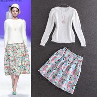 New Hot Fashion Skirt Runway Autumn 2014 Women Rabbit Hair Sweater Pullover Tops+Butterfly Print Sweet Skirt(1Set)Suit Clothes