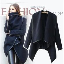 New Women Jacket Coat autumn Winter Woolen Long Sleeve Overcoat Fashion Trench Desigual Woolen Coat Casacos Femininos S-XXXL(China (Mainland))