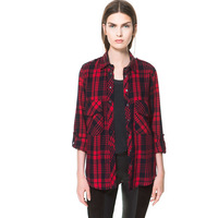 New Autumn Spring 2014 Fashion Cotton Long Sleeve Lapel Collar Red & Black Plaid Womens Blouse Shirt Tops with Pocket