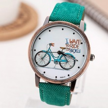 Women Wristwatch 2014 New Fashion Casual Watches Cute Cartoon Bike Geniune Leather Dress Watches Women Quartz Watch Wholesale