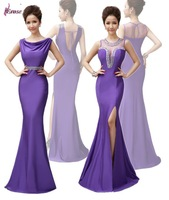 Free Shipping Purple Beaded O-Neck Side Slit Long Evening Dress Formal Gown 2014 for Sale NSD-0055