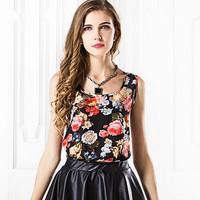 Free Shipping Fashion New Women Printing Chiffon Vest Sleeveless Multi Type Fashion Casual Lady Tank Top Sale