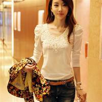 High Quality Sell Korean Style Sweet Lace Cutout Women Shirt Handmade Crochet Cape Collar Chiffon Blouse CX656816