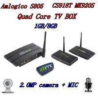 CS918T Android 4.4 TV Box Amlogic S805 1.5 GHz Quad core 1GB RAM 8GB ROM XBMC WiFi Bluetooth CS918T Web camera RJ45 AV OUT