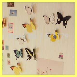 Creative gift 15 Jiezhuang Butterfly Stickers home accessories bedroom wall stickers KX023(China (Mainland))