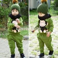 Promotion Autumn Suit Two-Piece Suit Casual Winter Children's Clothing Kids Set Boy Baby Fashion Sport Print Animal Brand B19