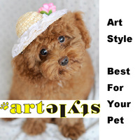 Pet dog hairpin headdress large flowers straw hat wholesale pet supplies pet home Parfait