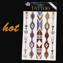 hot body art tatto new temporary tattoo sex product feather choker bracelet flash tatouage metalic silver gold tattoos tatoo 23(China (Mainland))